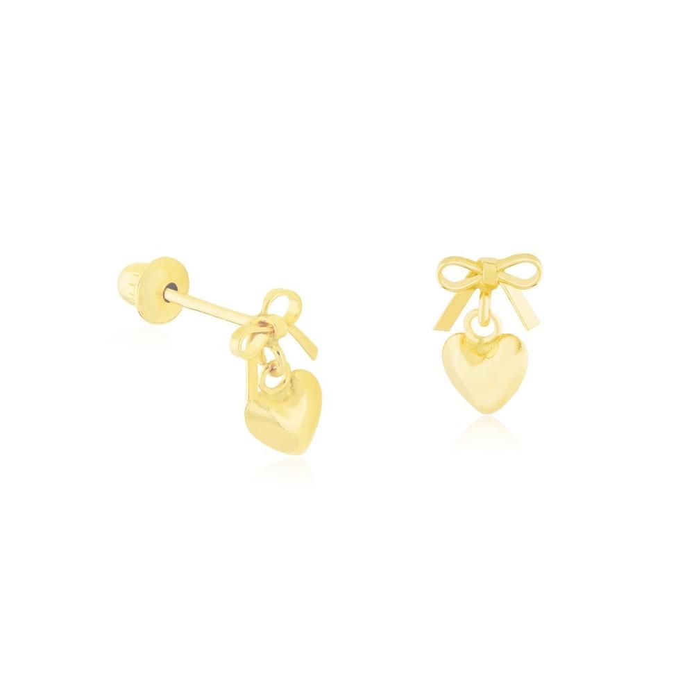 Brincos Infantil Coração com Laço em Ouro 18K Amarelo com Tarraxas Baby Press