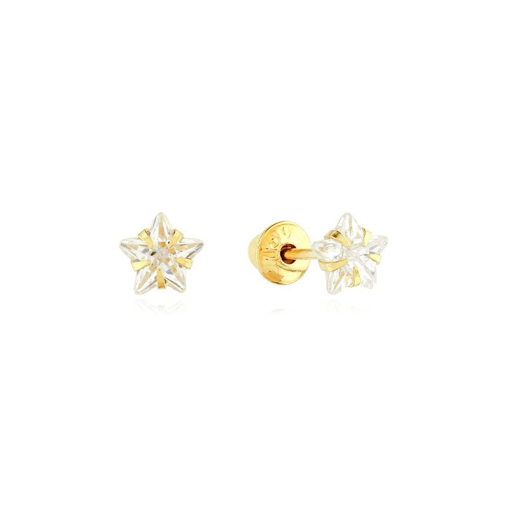 Brincos Infantil Estrela de Zircônia 3,0mm em Ouro 18k Amarelo com Tarraxas Baby Press