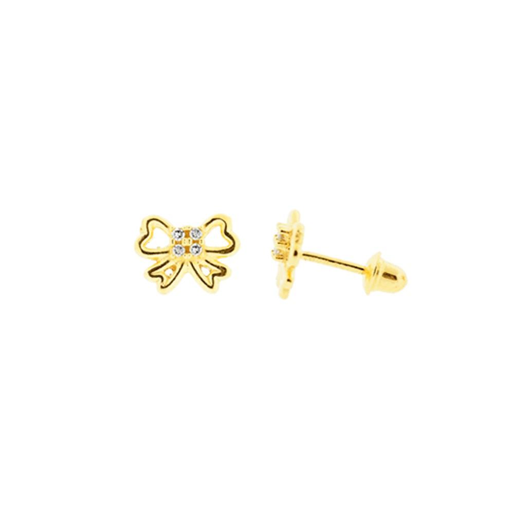 Brincos Infantil Laço com Diamantes em Ouro 18K Amarelo