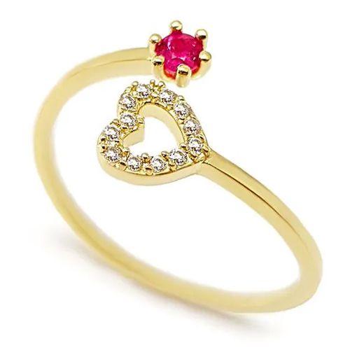 Anel Coração Cravejado com Diamantes e Rubi em Ouro 18K Amarelo