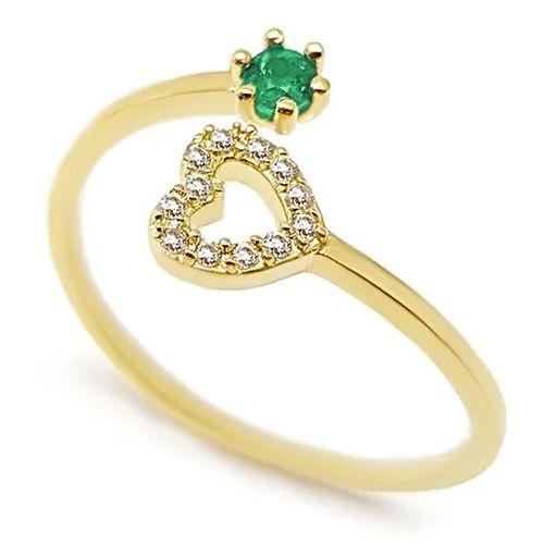 Anel Coração Cravejado com Diamantes e Esmeralda em Ouro 18K Amarelo