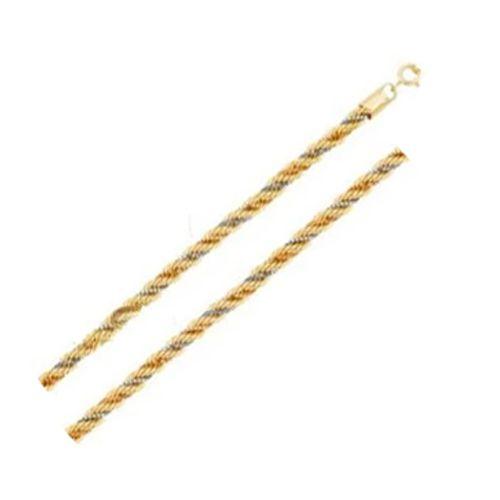 Corrente Corda Três Cores 45cm em Ouro 18K Amarelo