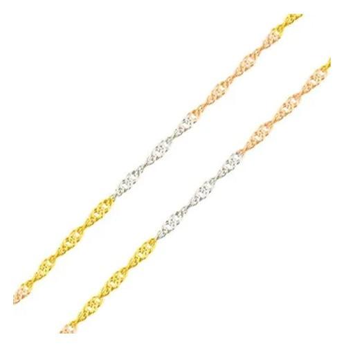 Corrente Singapura Tricolor em Ouro 18k com 45cm