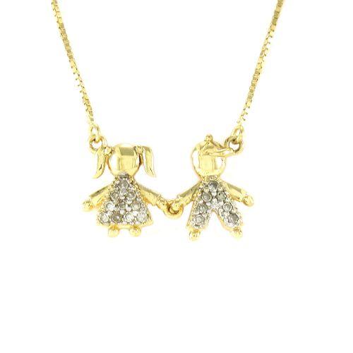 Gargantilha com Menino e Menina Cravejada com Diamantes em Ouro 18K Amarelo