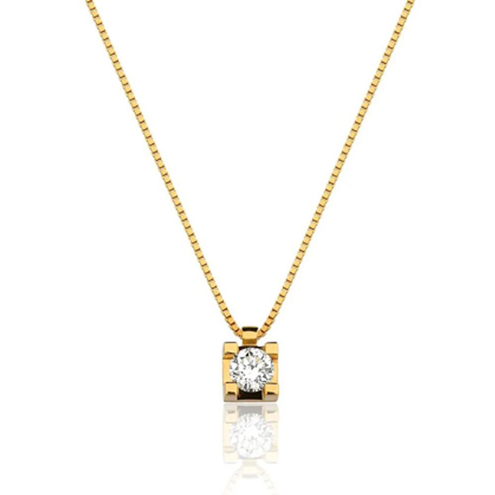 Gargantilha Ponto de Luz com 40cm e Diamante de 5 Pontos