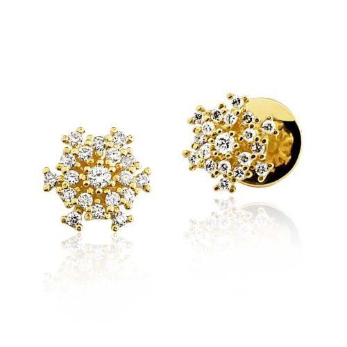 Par de Brincos Clássico em Ouro 18K Amarelo Cravejado de Diamantes