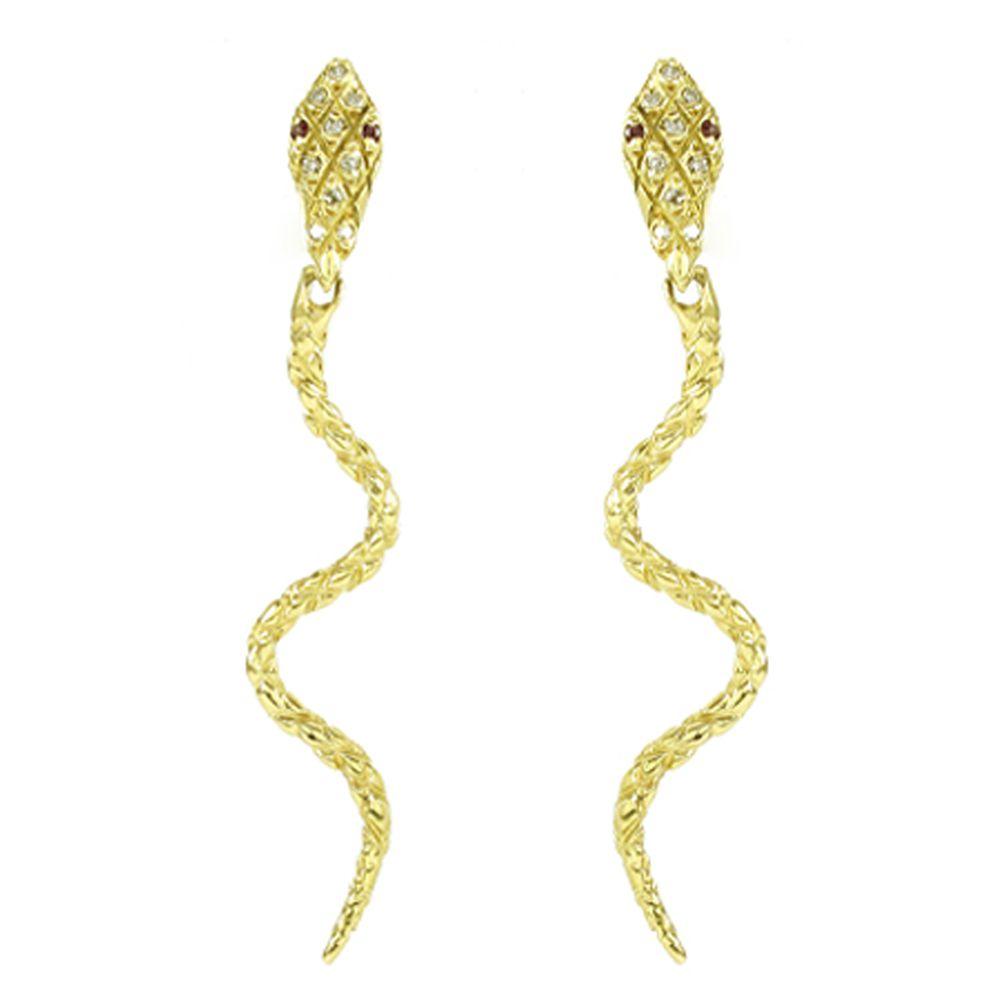 Par de Brincos Cobra em Ouro 18K Amarelo com Diamantes e Rubis na Cabeça