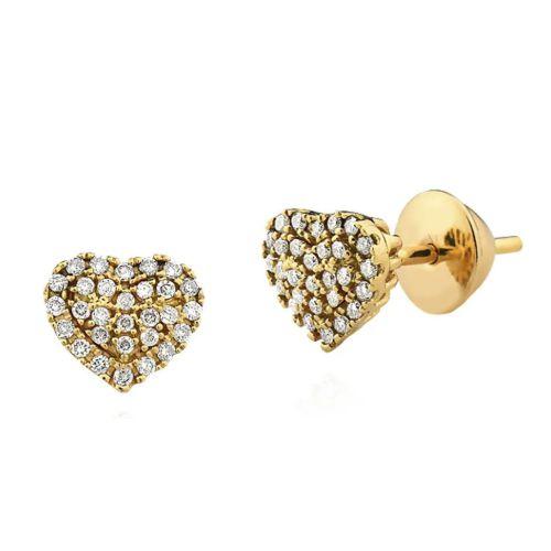 Par de Brincos Coração em Ouro 18K Amarelo com Diamantes