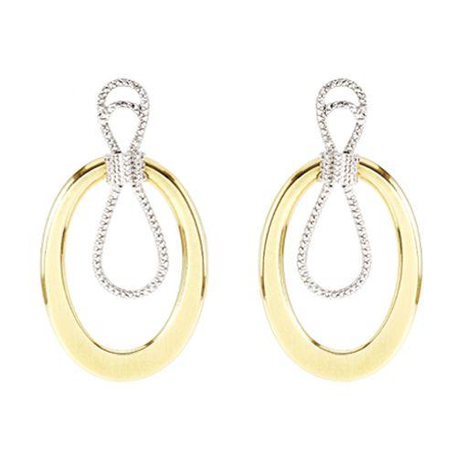 Par de Brincos em Ouro 18K Amarelo e Branco Cravejado de Diamantes