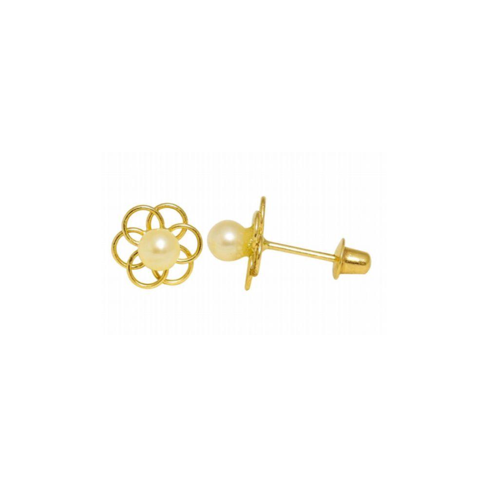 Par de Brincos Infantil com Pérolas de 3,0 mm em Ouro 18K Amarelo