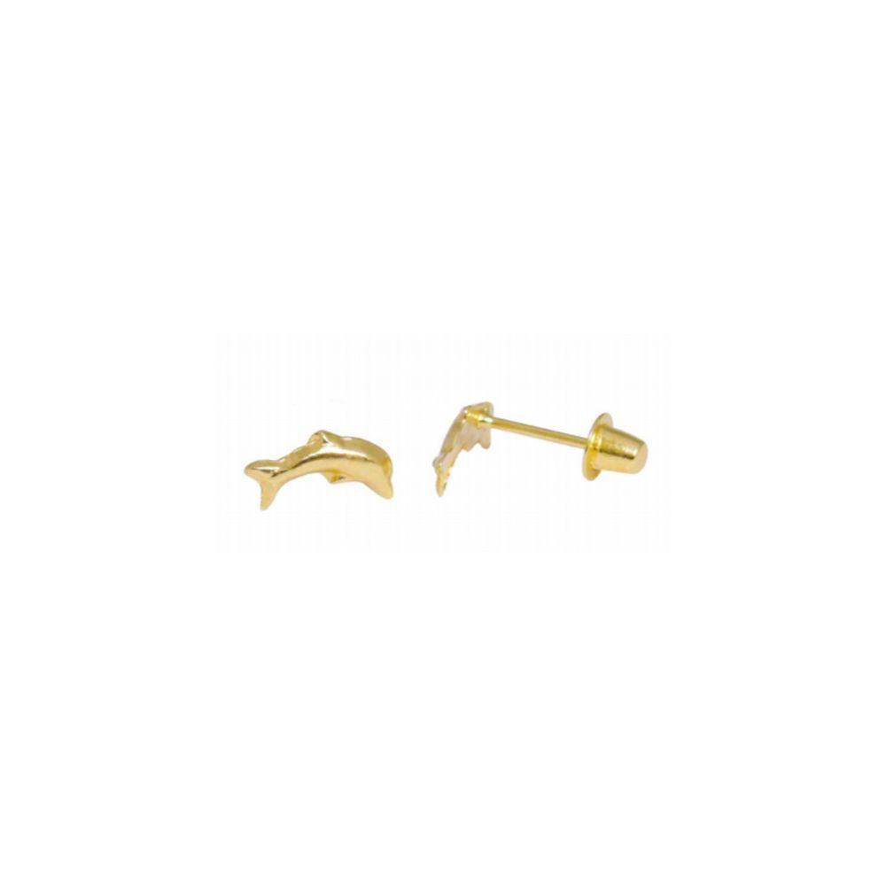 Par de Brincos Infantil Golfinhos em Ouro 18K Amarelo