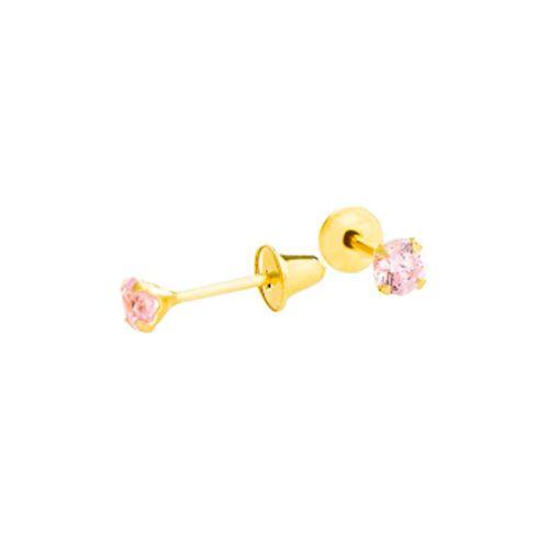 Par de Brincos Infantil Zircônia Rosa 2,5 mm em Ouro 18K Amarelo