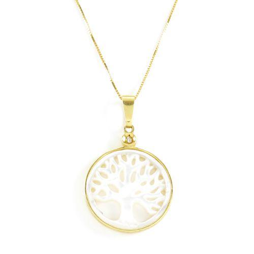 Pingente Árvore da Vida com Madrepérola em Ouro 18K Amarelo com Diamante de 1,5 Pontos