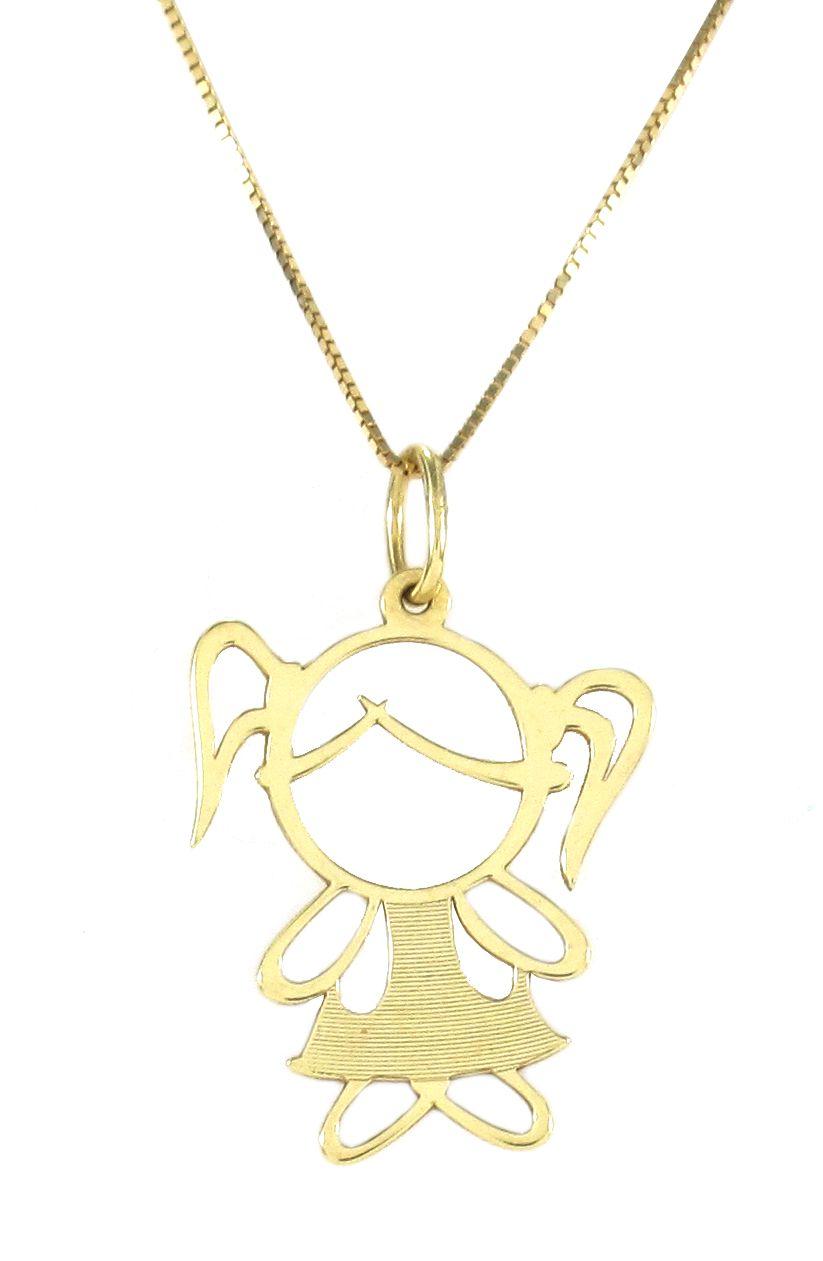 Pingente Menina em Ouro 18K Amarelo
