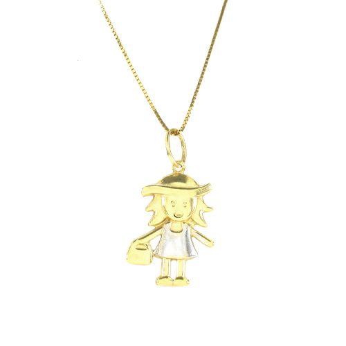 Pingente Menina com Bolsa em Ouro 18K Amarelo