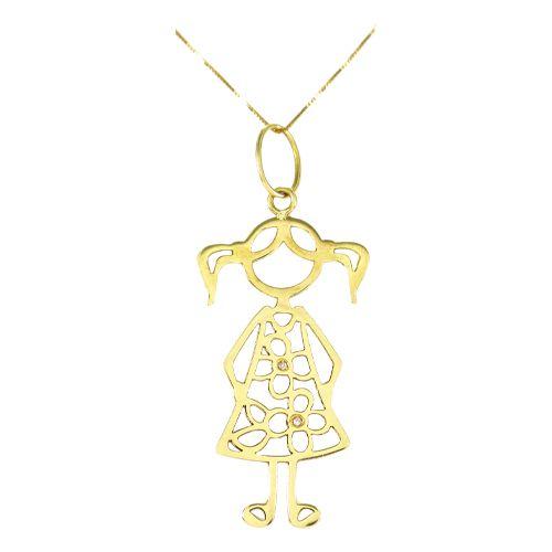Pingente Menina em Ouro 18K Amarelo com Dois Diamantes de 0,5 Pontos