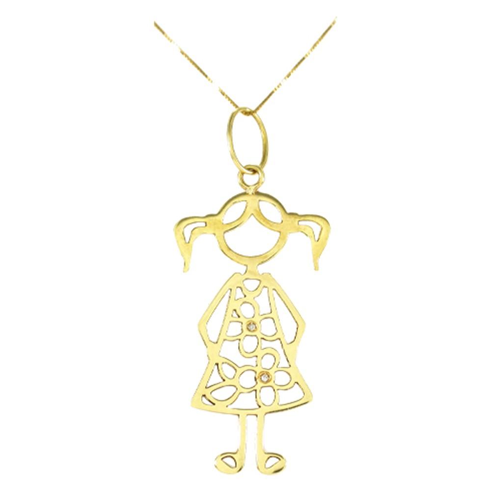 Pingente Menina em Ouro 18K Amarelo com Dois Diamantes de 0,5 Pontos - PMR180