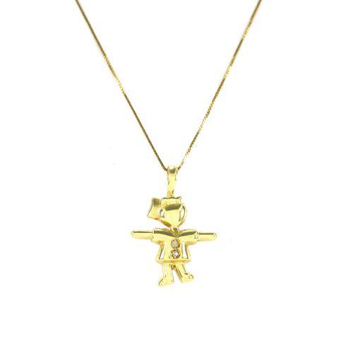Pingente Menina em Ouro 18K Amarelo com Dois Diamantes de 0,7 Pontos