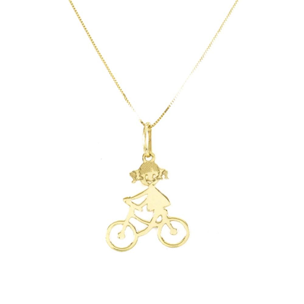 Pingente Menina na Bike em Ouro 18k Amarelo - PMR060