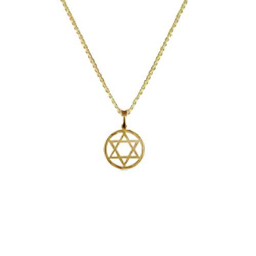 Pingente Religioso Estrela de Davi em Ouro 18K Amarelo