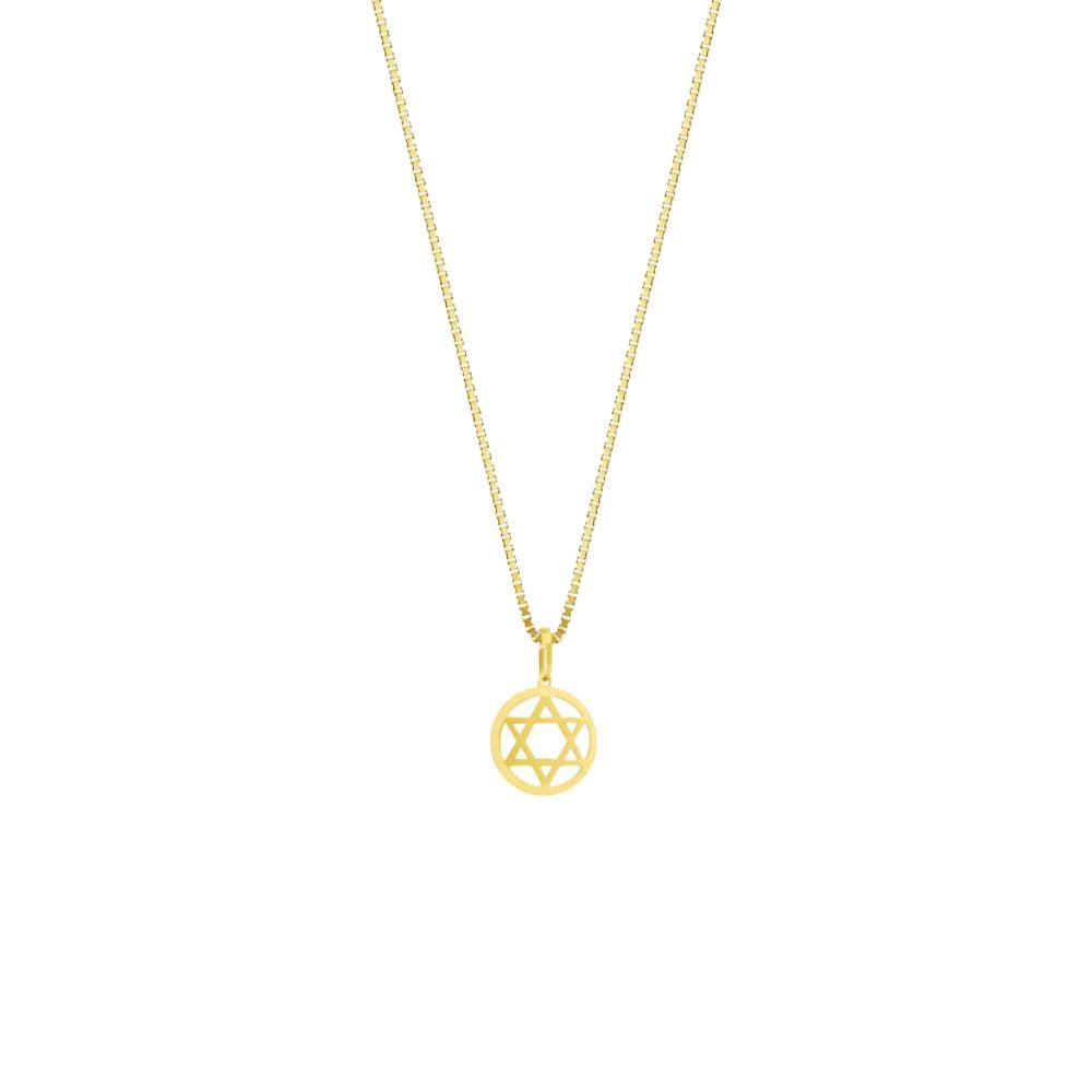 Pingente Religioso Estrela de Davi em Ouro 18K Amarelo com 14,5mm