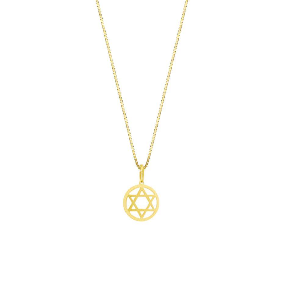 Pingente Religioso Estrela de Davi em Ouro 18K Amarelo com 18mm