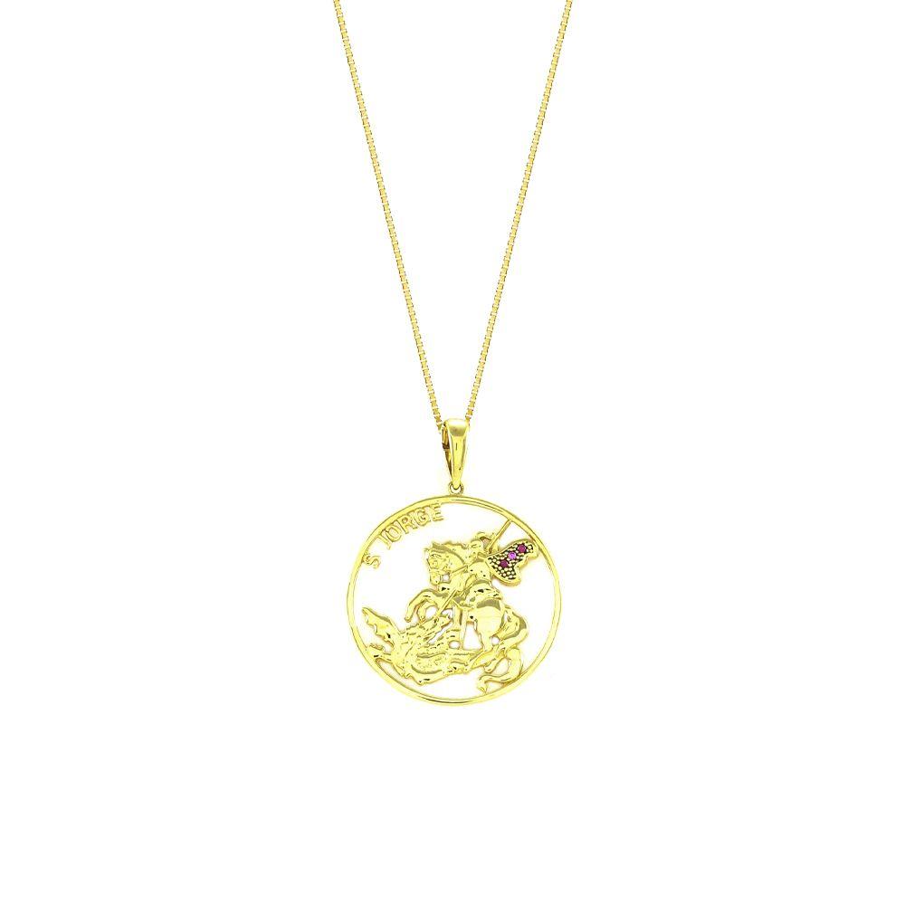Pingente Religioso São Jorge em Ouro 18K Amarelo Cravejado com Rubis