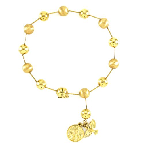 Pulseira Bolas com Espírito Santo e São Bento em Ouro 18K Amarelo