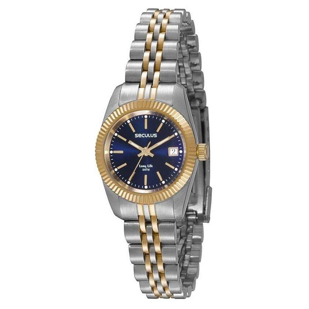 Relógio Seculus Feminino Bicolor Long Life 77025LPSVBA4