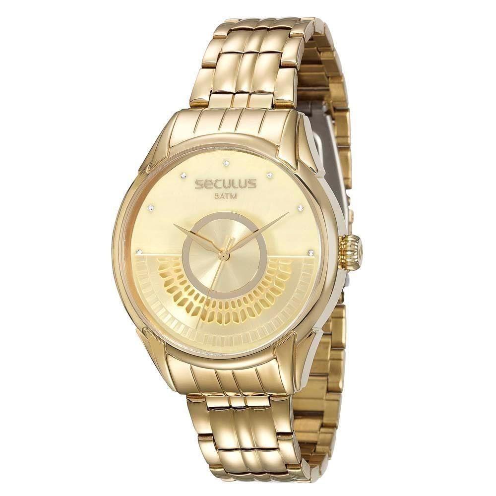 Relógio Seculus Feminino Dourado 28653LPSVDA1