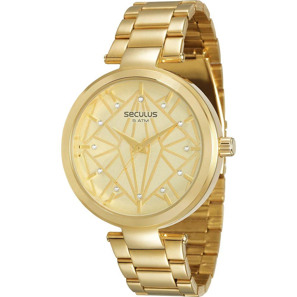 Relógio Seculus Feminino Dourado 60667LPSVDS1