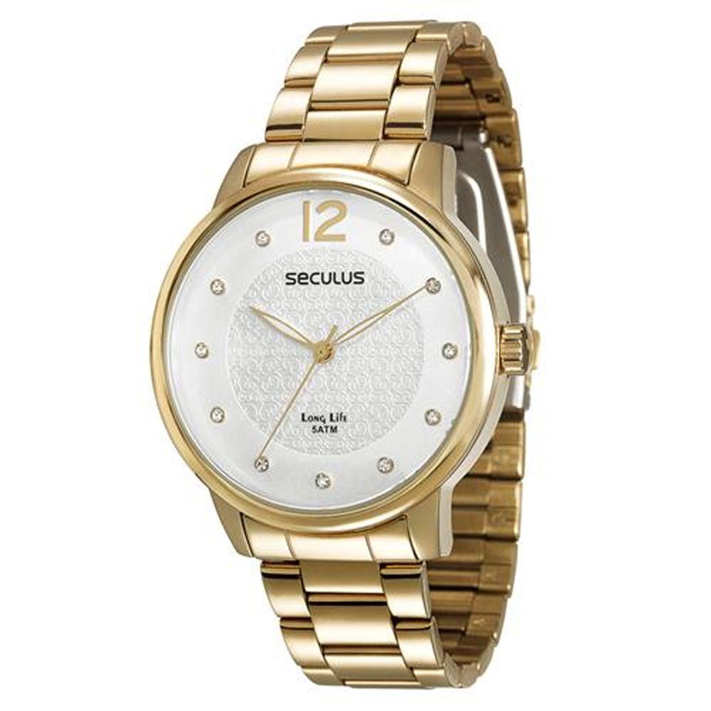 Relógio Seculus Feminino Dourado Long Life 28509LPSVDA1