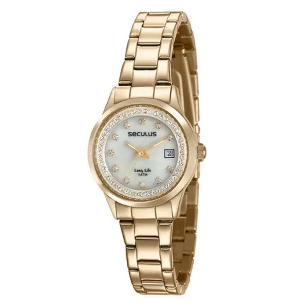 Relógio Seculus Feminino Dourado Long Life 77014LPSVDA1