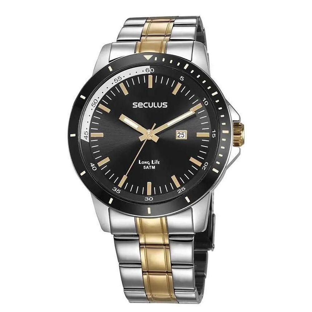 Relógio Seculus Masculino Bicolor Long Life 28964GPSVBA1