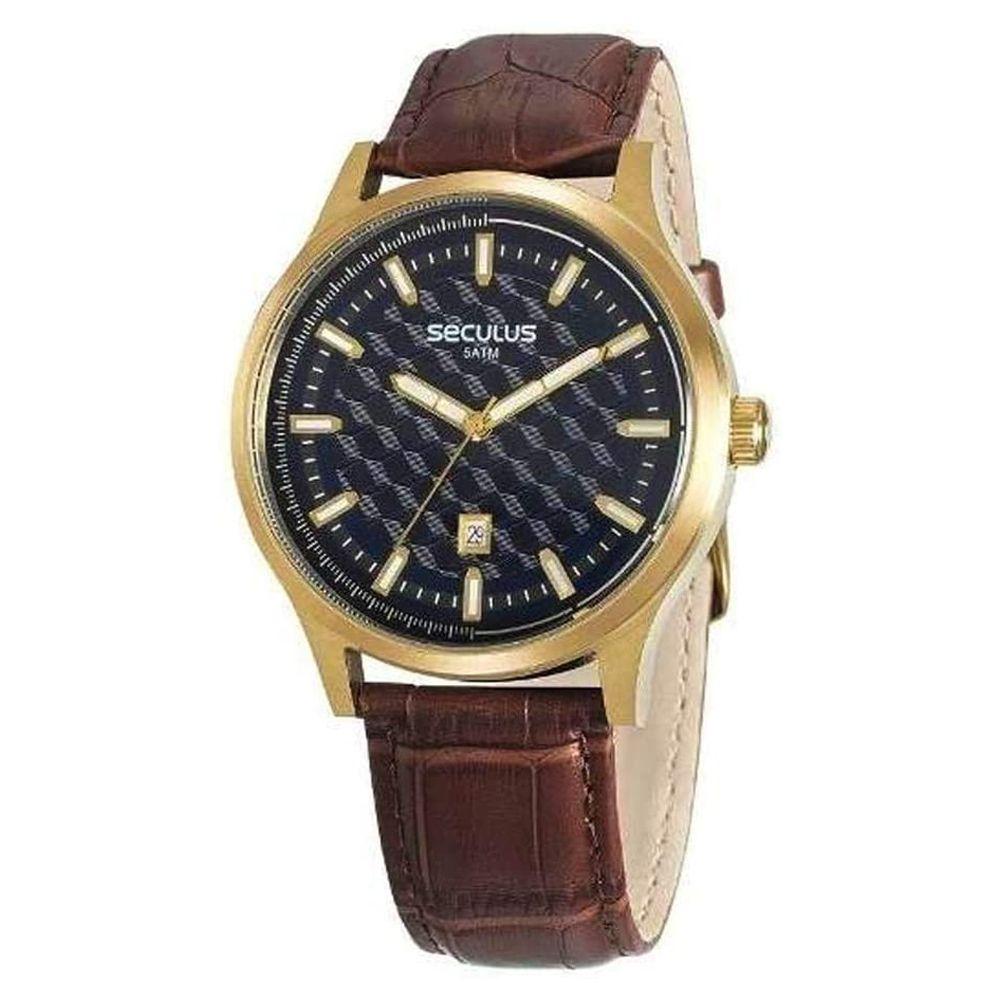Relógio Seculus Masculino Pulseira de Couro 20593GPSVDC2