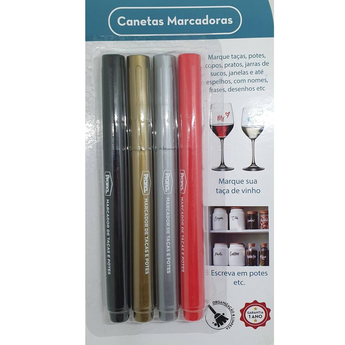 CONJUNTO COM 4 CANETAS MARCADORAS DE VIDRO