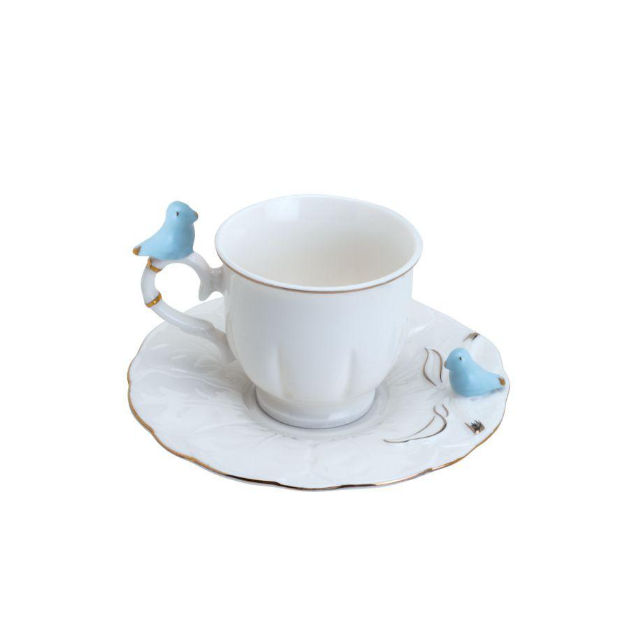 JOGO 6 XÍCARAS CAFÉ BIRDS ROUND PLATE PORCELANA WOLFF