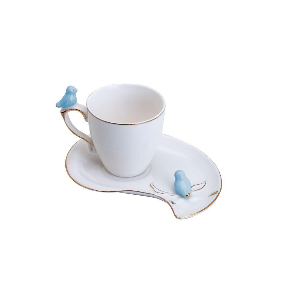 JOGO 6 XÍCARAS CAFÉ CUTE BIRDS DESIGN PLATE PORCELANA WOLFF