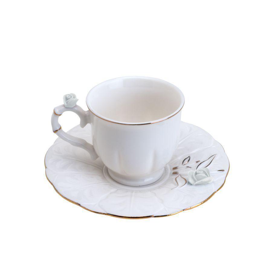 JOGO 6 XÍCARAS CAFÉ FLOWER ROUND PLATE PORCELANA WOLFF