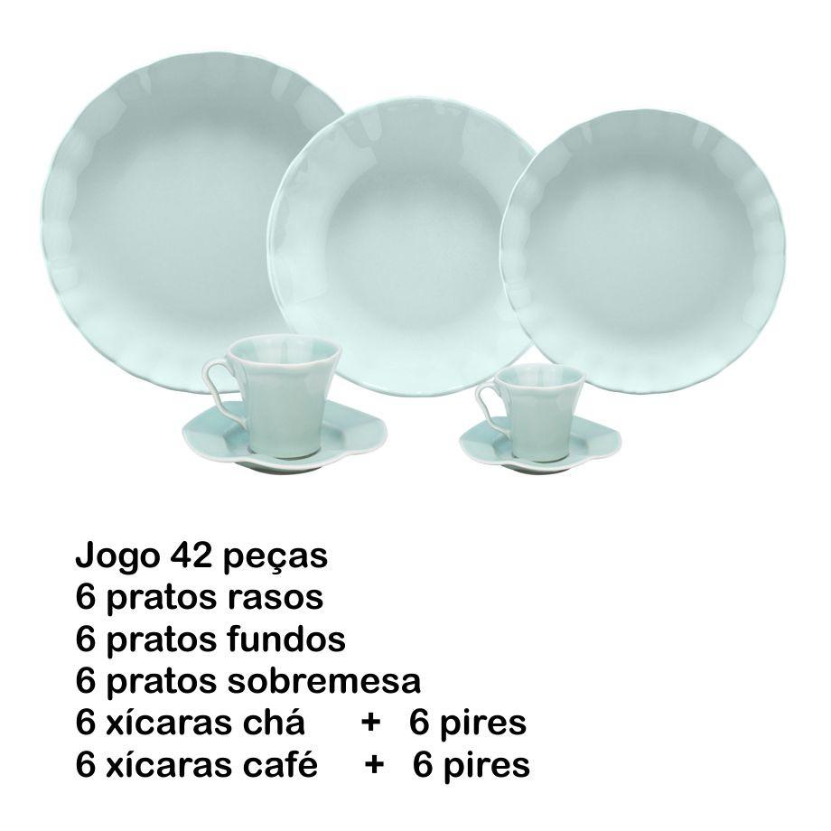 JOGO DE JANTAR 42 PEÇAS BERGAMA MINT PORCELANA