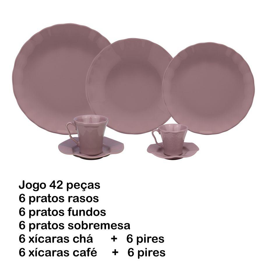 JOGO DE JANTAR 42 PEÇAS BERGAMA PLUM PORCELANA