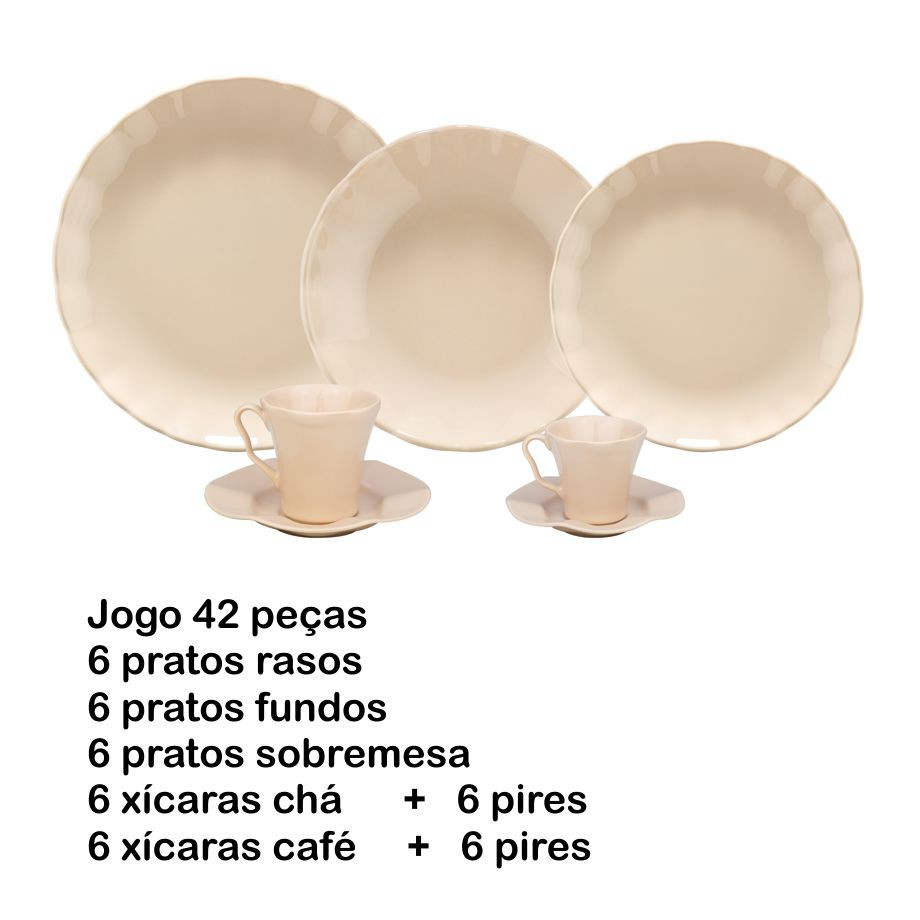 JOGO DE JANTAR 42 PEÇAS BERGAMA SAND PORCELANA