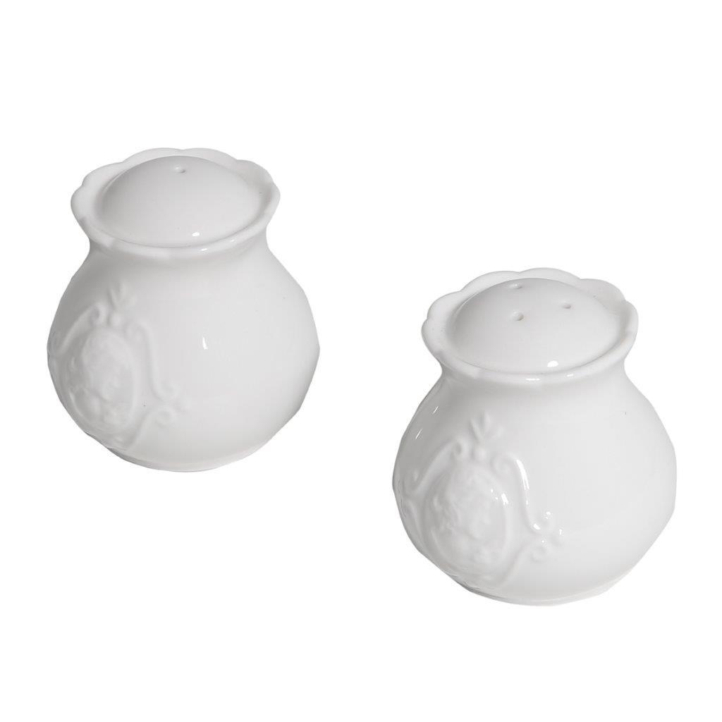 Jogo de saleiro e pimenteiro Queen porcelana