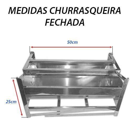 Churrasqueira Portátil em Inox - Grande -2 grelhas