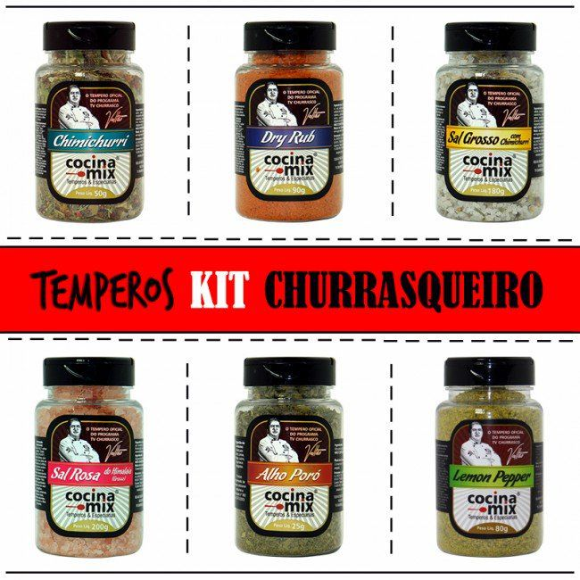 Kit Temperos - Churrasqueiro - 6 Potes