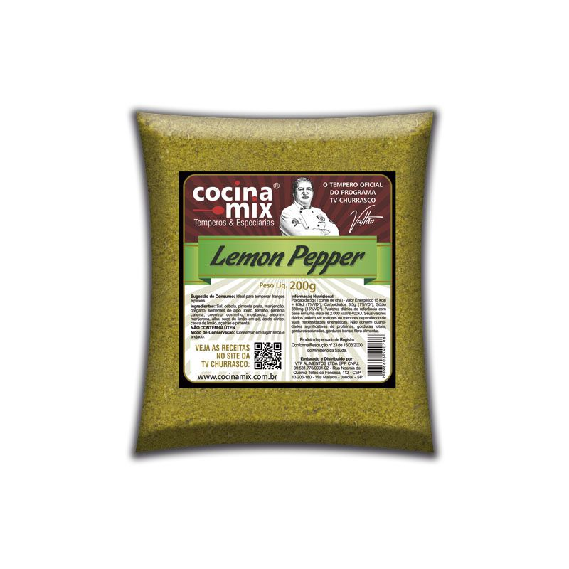 Lemon Pepper 200g - Tempero Cocina Mix  - Econômica