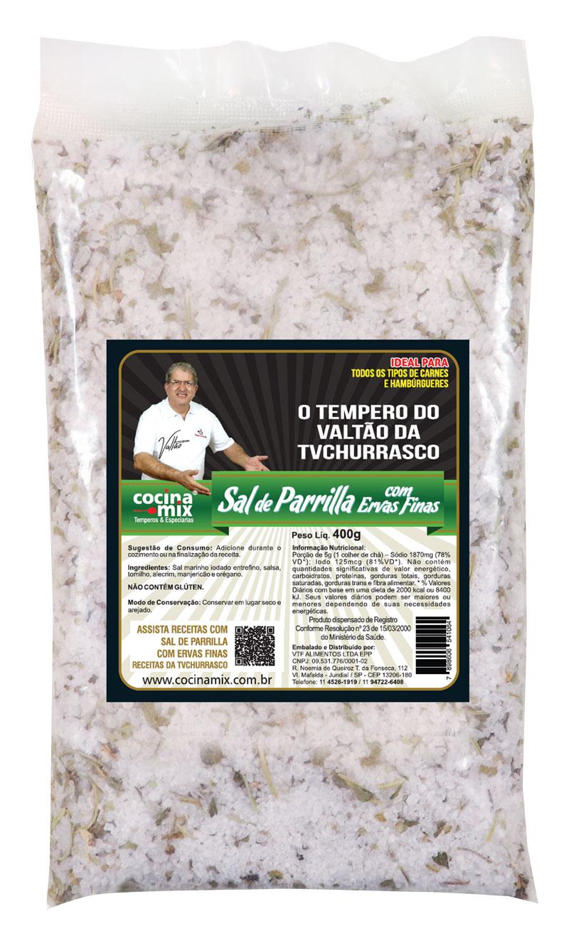 Sal de Parrilla com Ervas Finas - 400 g- Tempero para Churrasco - Cocina Mix - Econômica