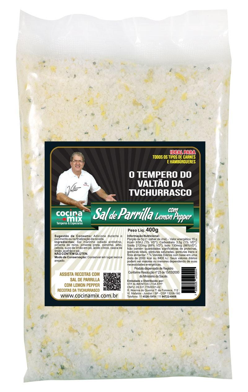 Sal de Parrilla Original com Lemon Pepper - 400 g- Tempero para Churrasco - Cocina Mix - Econômica
