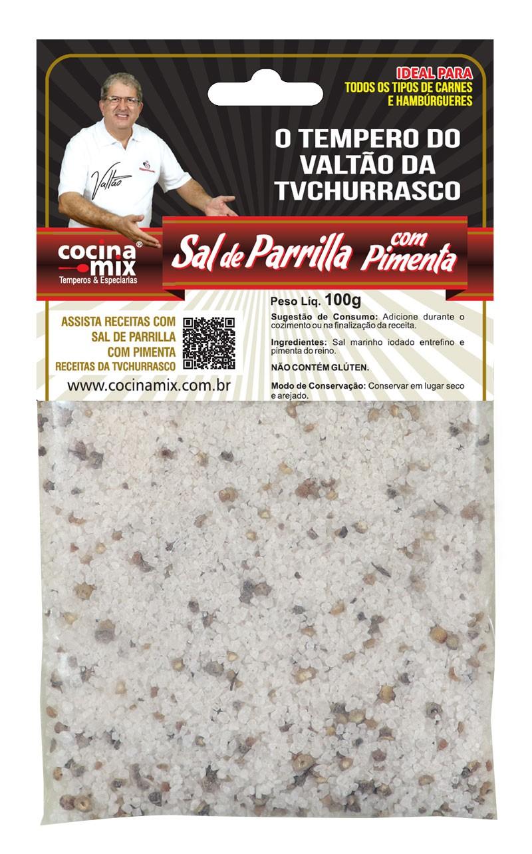 Sal de Parrilla com Pimenta do Reino - 100 g- Tempero para Churrasco - Cocina Mix