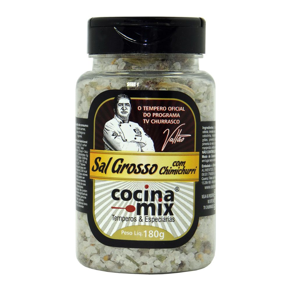 Sal grosso com Chimichurri - Tempero para Churrasco - 180g -  Cocina Mix